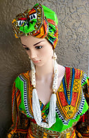 #70 Traditional  Woman Long Wrap Dress - Bright Green/Red Dashiki