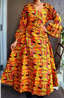70 -Traditional  Woman Long Wrap Dress -  Orange  kente