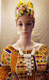 024 Women Long Smocked Dress - Yellow Kente