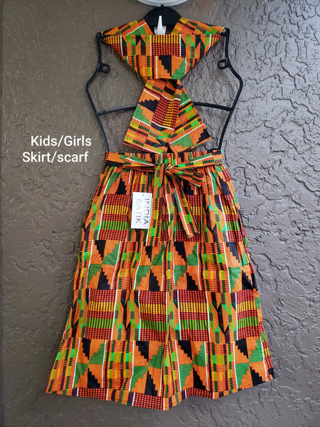 K005  Kids / Girls  Skirt & Scarf Set - Orange