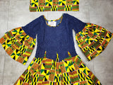 #76- Women Long  Smocked/ Flared Dress - Yellow