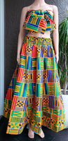 #1003 Women Traditional Wax Print Long Skirt- Multi Color Kente