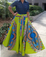 1010 - Women Long Flared Skirt- Traditional Dashiki - Neon Green