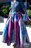 #1010 - Women Long Flared Skirt- Traditional Dashiki- Black/Fuchsia