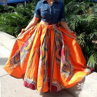 #1010 - Women Long Flared Skirt- Traditional Dashiki