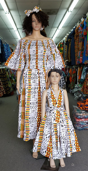 Mother & Daughter Sets- White kente