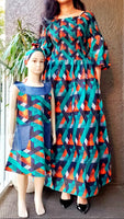 Women Long Smocked Dress - Teal