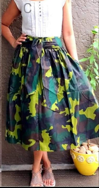 300 - Woman Mid Length Camouflage Maxi Skirt- Green