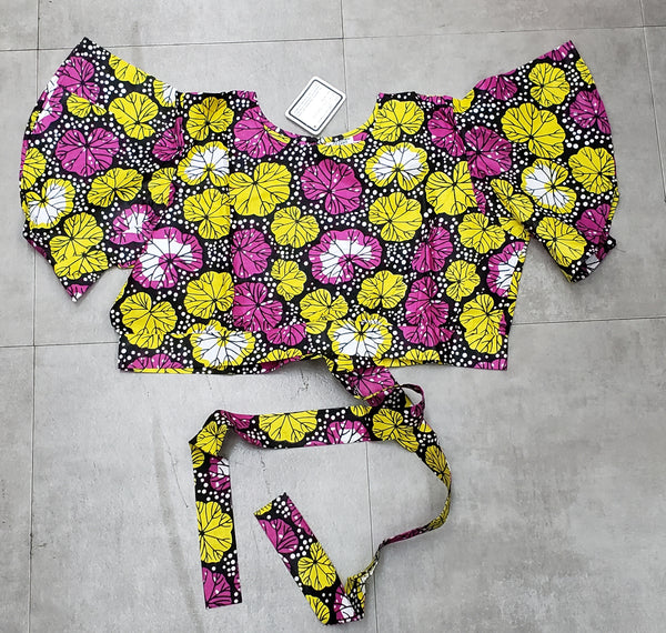 2037- Women's Printed Crop Top - Black/ Pink/Yellow
