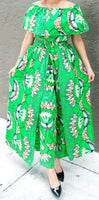 3012 Women Cape Pant & Blouse Set -Green