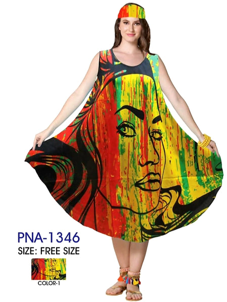 1346 Tribal Umbrella Dress- 1 Red