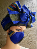 Matching  Mask-Headwrap Set - Royal Blue