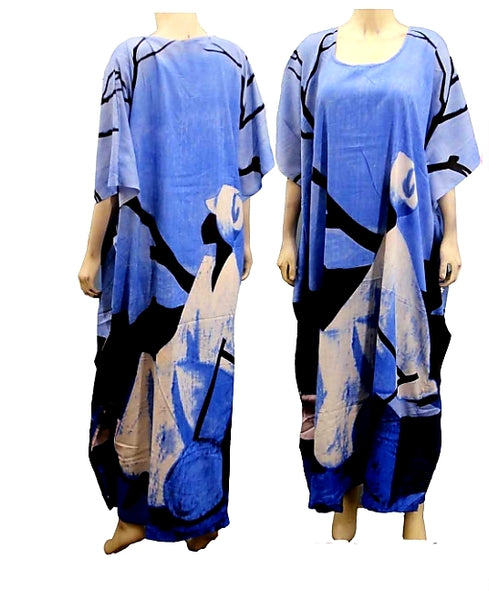 1367- Women Tribal Hand Painted Kaftan Dress- Blue