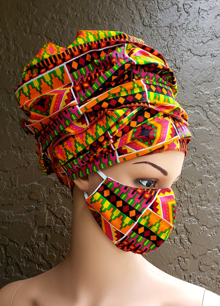 Matching  Mask-Headwrap Set - Orange/ Pink Kente