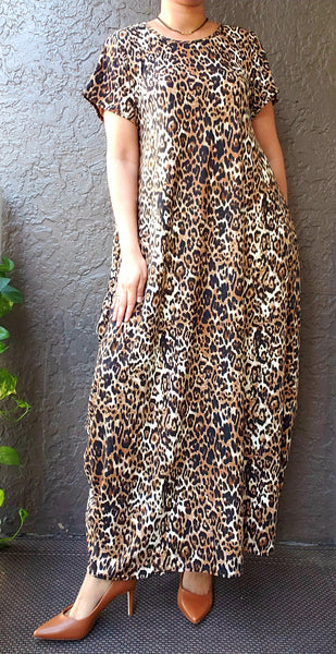 20001-Long Printed Bubble  Dress - Brown Cheetah