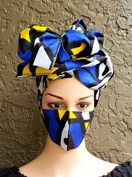Matching  Mask-Headwrap Set -Blue Tribal