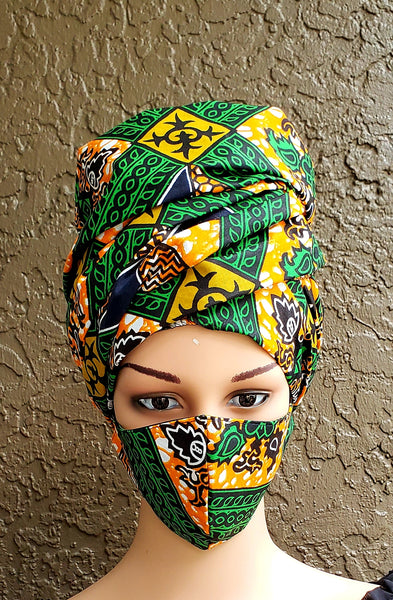 Matching  Mask-Headwrap Set - Green