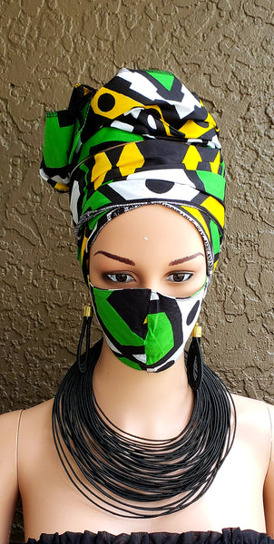 Matching  Mask-Headwrap Set - Green/White/ Black