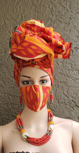 Matching  Mask-Headwrap Set - Red/Orange