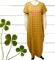 20001-Long  Checkerd Printed Bubble  Dress -  Lime / Pink