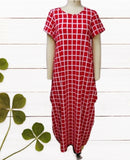 20001-Long Printed Bubble  Dress -  Red
