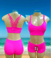 2357-2 Spandex Bralette/ Tank Top/ Crop Top / Shorts Set