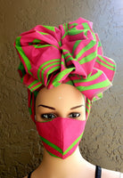 Matching  Mask-Headwrap Set -Pink/Green