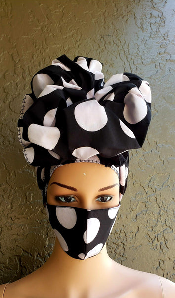 Matching  Mask-Headwrap Set - Black/White Polkadot