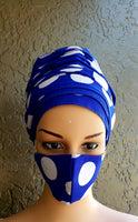 Matching  Mask-Headwrap Set - Blue Polkadot