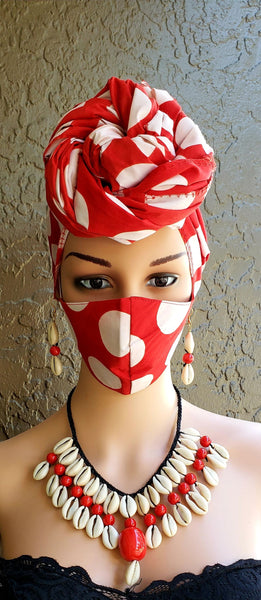 Matching  Mask-Headwrap Set -White/Red