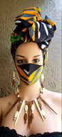 Matching  Mask-Headwrap Set -Tribal