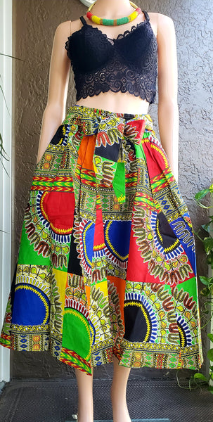 #36- Women Mid Length Flared Skirt- Dashiki Patch
