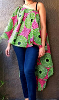 #3074 Poncho top/ Hi/Lo Skirt- Green/ Pink