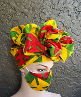 Matching  Mask-Headwrap Set - Yellow