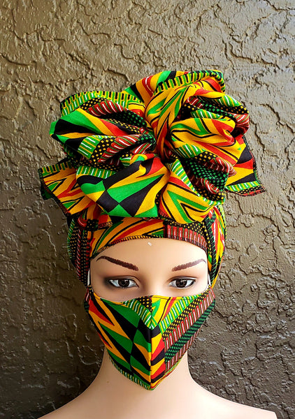 Matching  Mask-Headwrap Set - Rasta