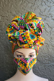 Matching  Mask-Headwrap Set -  Yellow/ L.Purple