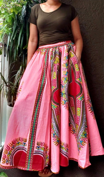 1010 - Women Long Flared  Dashiki Skirt- Pink