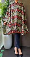 3073 - Women  Printed Short Coat Dress / Blouse -Black_Red