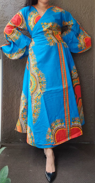 1014 - African Long Wrap Dress / Long Bell Sleeves/ Dashiki Print- Turquoise/ Red