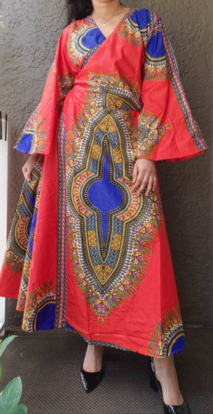 1014 - African Long Wrap Dress / Long Bell Sleeves/ Dashiki Print-Red/ Blue