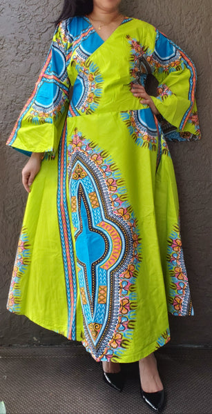 1014 - African Long Wrap Dress / Long Bell Sleeves/ Dashiki Print-Neon Green/ Blue