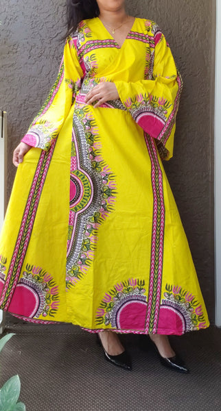 1014 - African Long Wrap Dress / Long Bell Sleeves/ Dashiki Print-  Yellow/ Pink