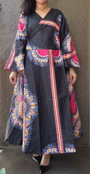 1014 - African Long Wrap Dress / Long Bell Sleeves/ Dashiki Print-  Black/Pink