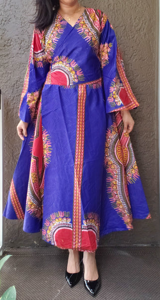 1014 - African Long Wrap Dress / Long Bell Sleeves/ Dashiki Print-  RoyalBlue