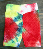 Women's Sexy Butt Lifting Multicolor Tie Dye Sport Shorts -A3317