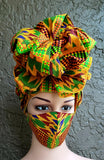 Matching  Mask-Headwrap Set - Kente Red