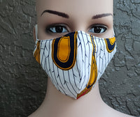 Matching  Mask-Headwrap Set - White/Gold Peacock
