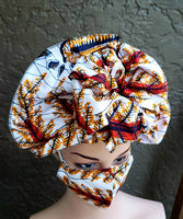 Matching  Mask-Headwrap Set -White/Shell/Seaweed