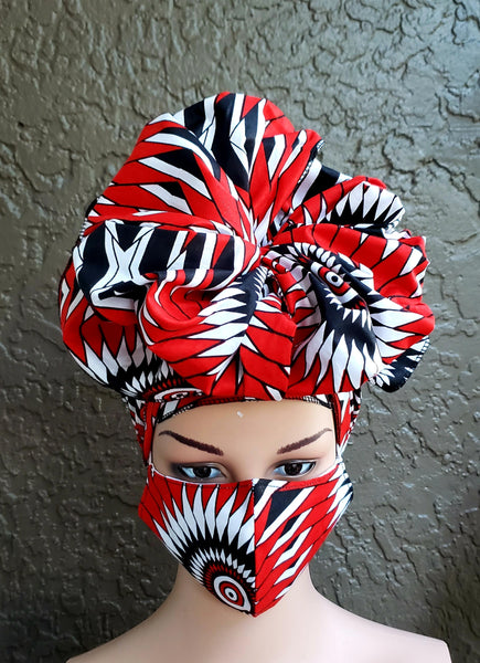 Matching  Mask-Headwrap Set -Red/White