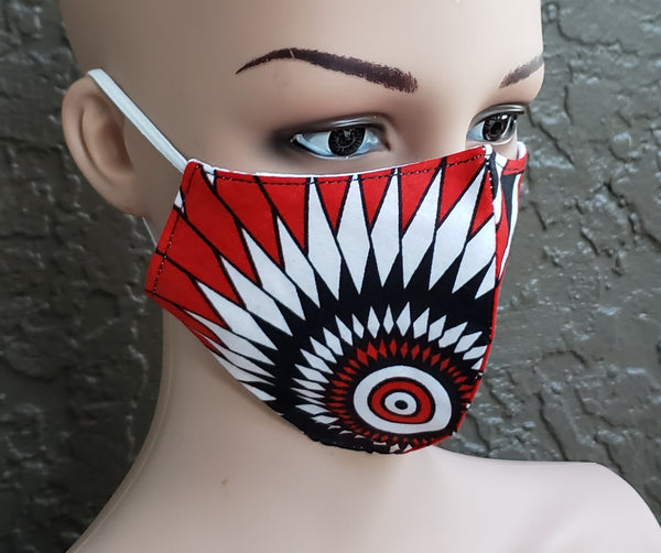 Cotton Printed Mask- Red/White,/Black